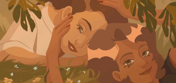 deux femmes dans l'herbe à la peau brune, l'une touche le visage de l'autre avec ses mains